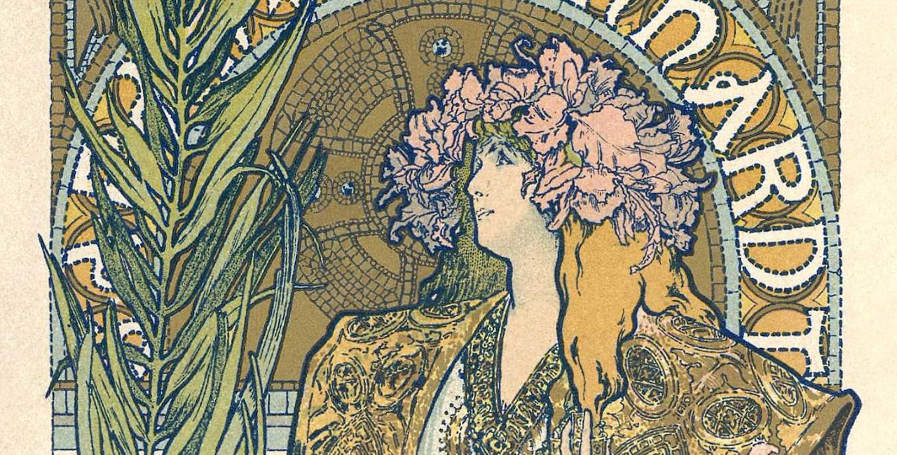 Detail of Mucha's Gismonda,poster / via Wikimedia commons, public domain