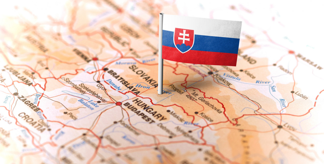 Map of central Europe with Slovakian flag via iStock.com / MarkRubens
