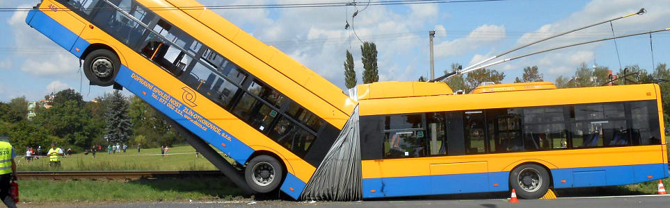 Zlín Traffic Accident Leaves Trolleybus Airborne