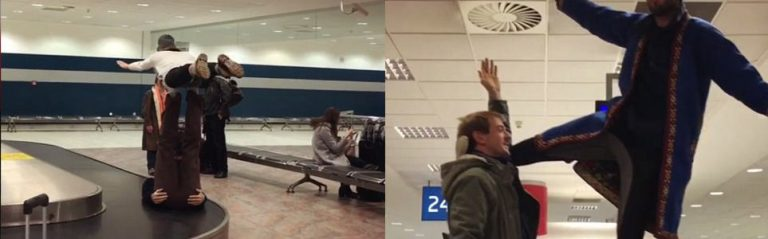 VIDEO: Acrobats Perform on Baggage Carousel at Prague Airport