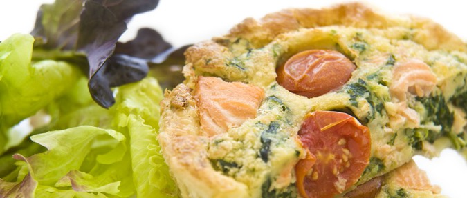 Quiche with Spinach and Fresh Salmon