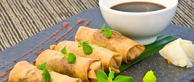 Fried Spring Rolls with Duck Legs and Coriander