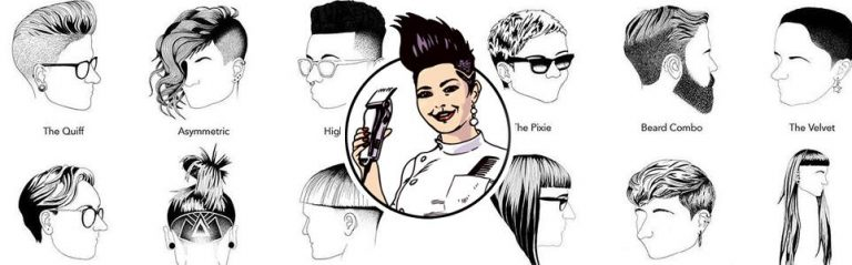 female barber surrounded by illustrated haircuts