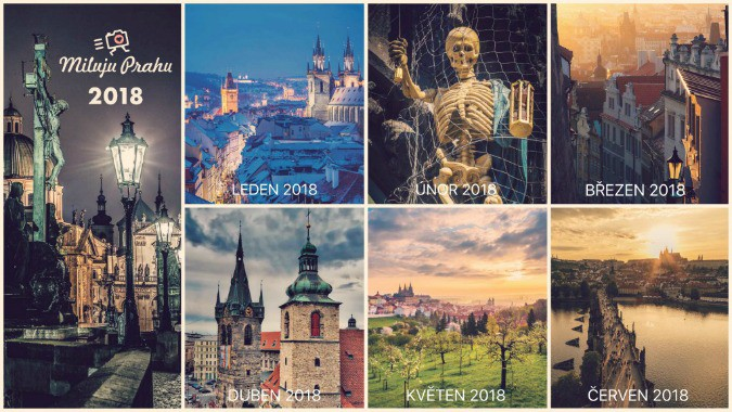 grid with pages from calender and pictures of prague