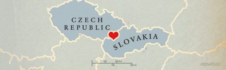 Illustration of a map of Czech Republic and Slovakia joined by a heart