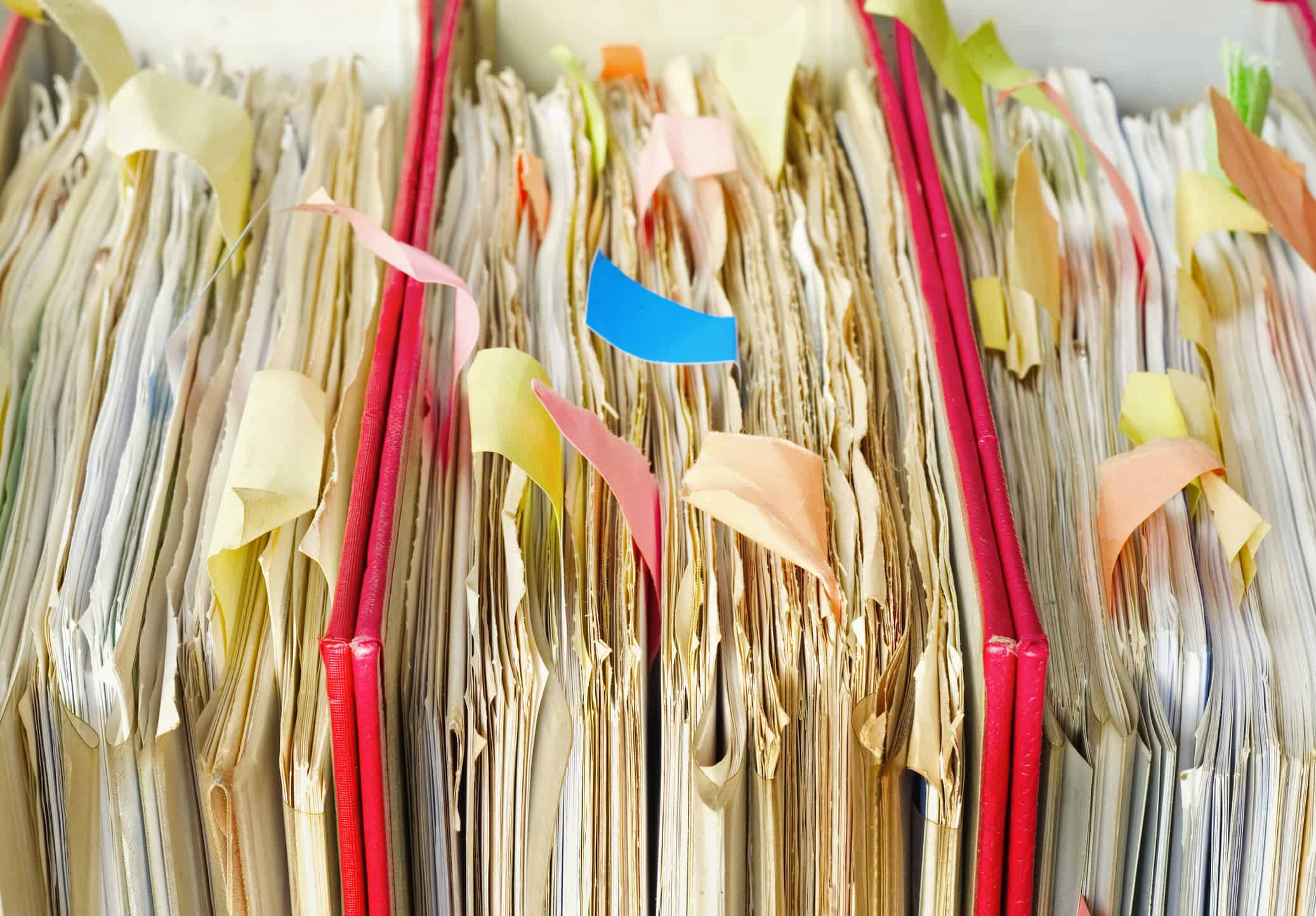messy file folders, close up, selective focus