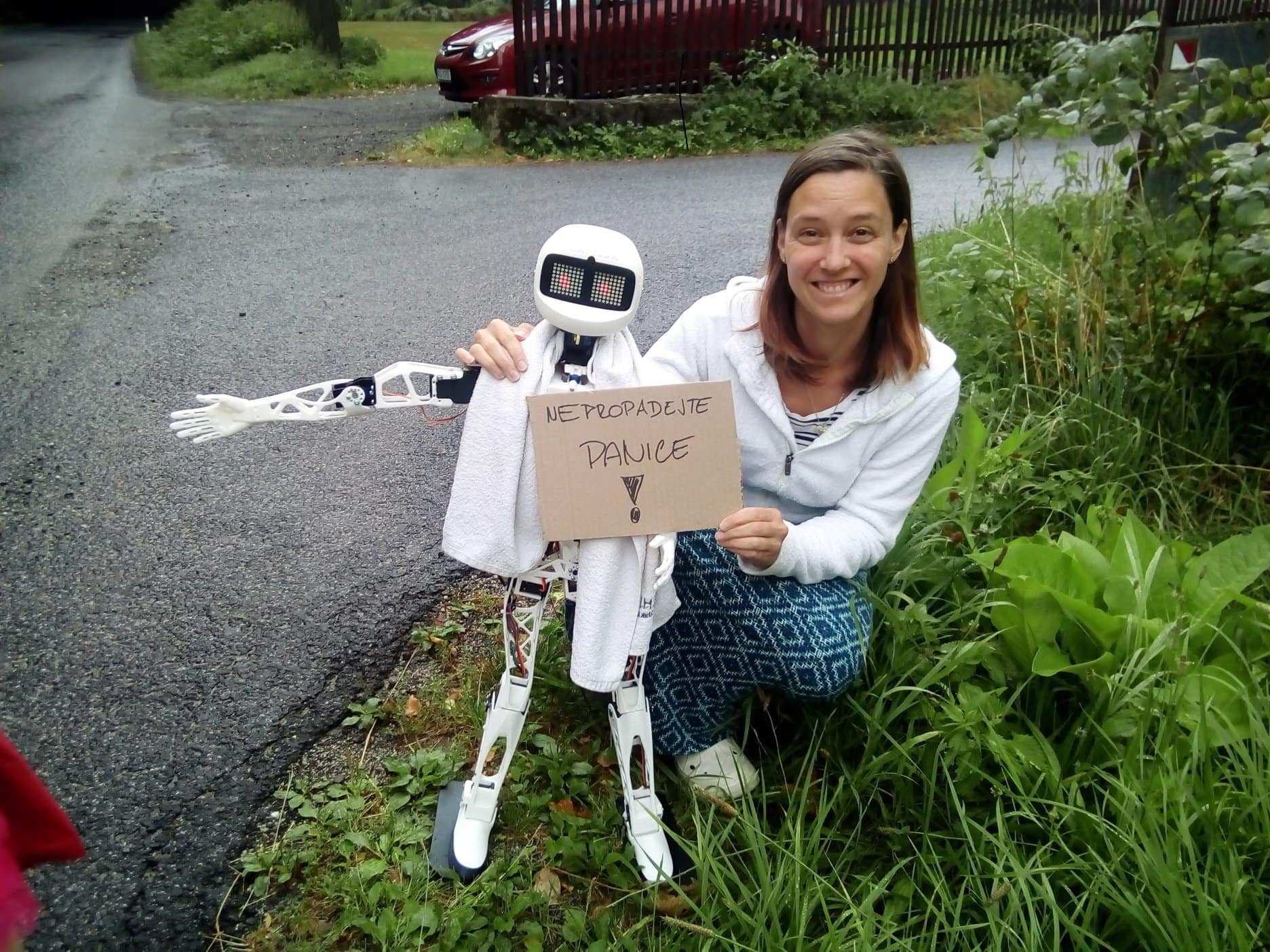 Humanoid Robot Matylda to Hitchhike across the Czech Republic