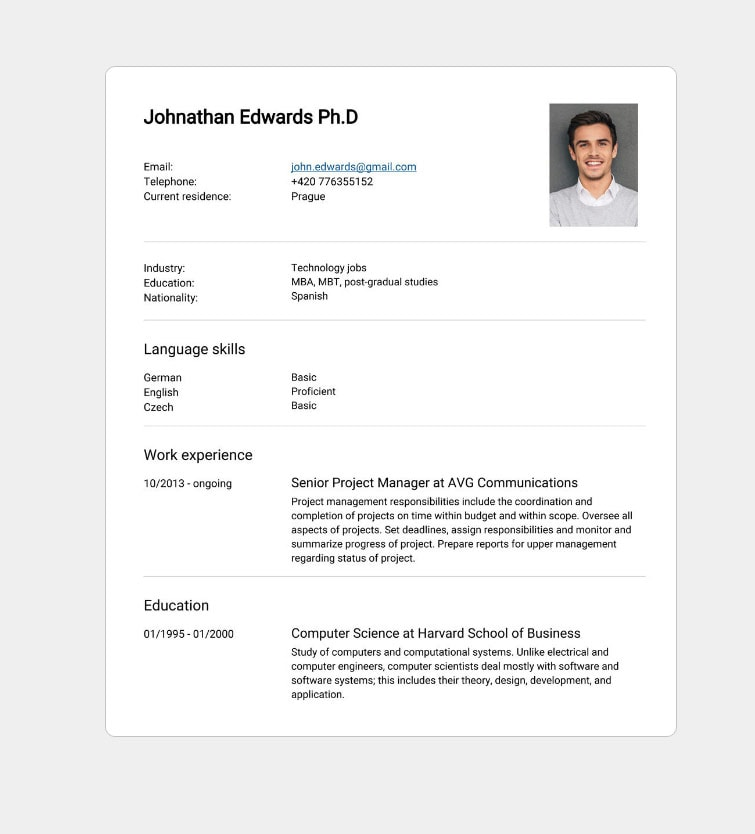 create a professional industry standard cv with the expatscz cv builder