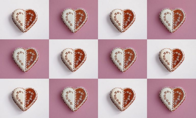 Heart shape gingerbread cookies collage