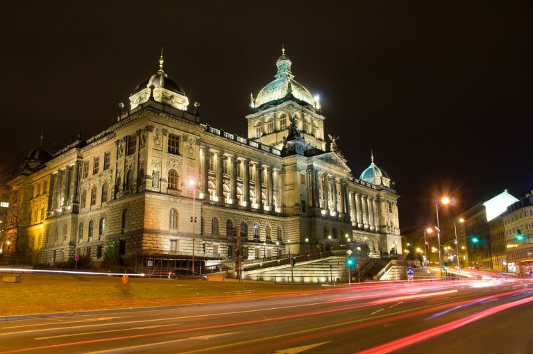 Czech National Museum in Prague at night