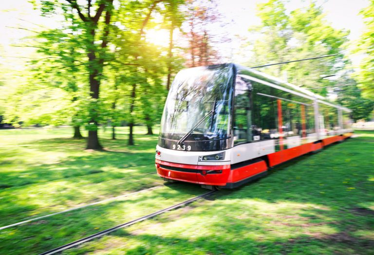 A tram rides through a park in Prague (illustrative photo)
