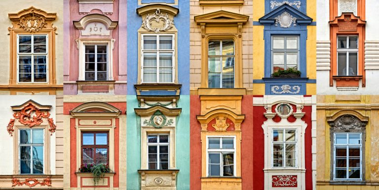 Collage of colorful windows in Prague, Czech Republic