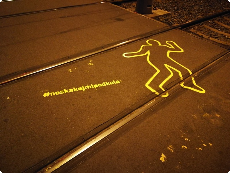Prague safety campaign uses body outlines on tracks to warn of tram dangers