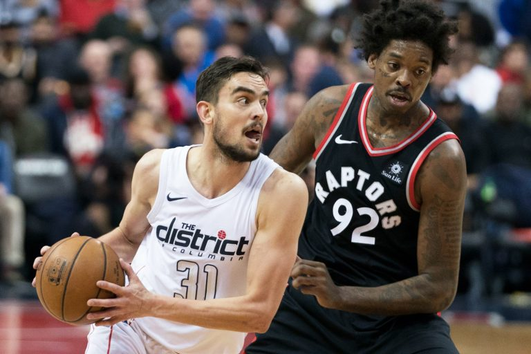 Tomáš Satoranský and the Toronto Raptors' Lucas Nogueira in March 2018 via Wikimedia / Keith Allison
