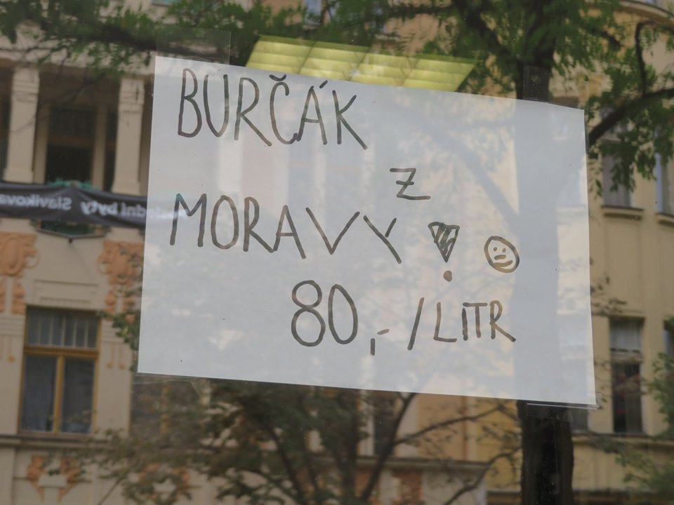 Burčák signs in Prague signal the end of summer and the beginning of young wine season