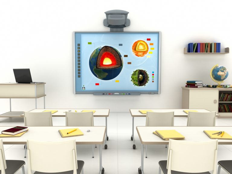 Modern classroom with interactive whiteboard.