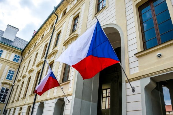 State flags of the Czech Republic at Prague Castle