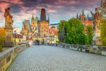 Sunrise on Charles Bridge in Prague's historic center