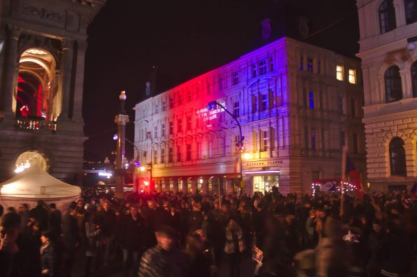 November 17 celebrations at Prague's Národní třída via Aktron / Wikimedia Commons