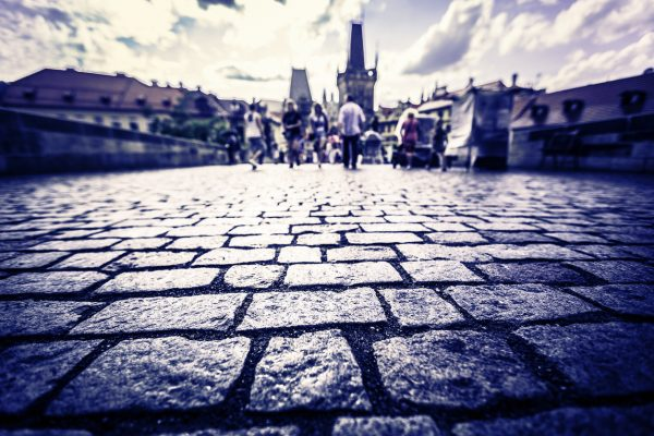 Cobblestones on Prague's Charles Bridge