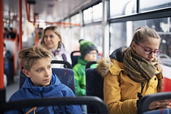 Czech students going to school by bus in Prague