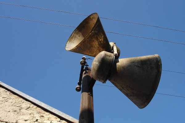 Loudspeakers on a pole in a Czech town