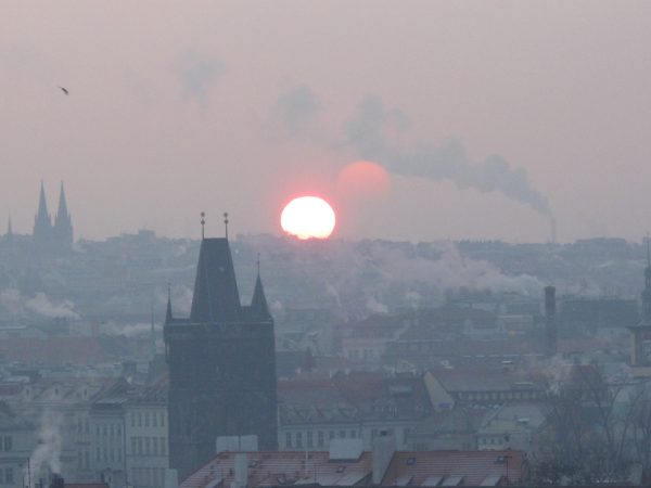 Winter sunset in Prague, Czech Republic