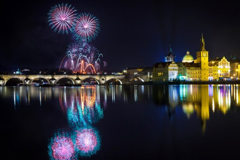 Fireworks over Prague's Charles Bridge