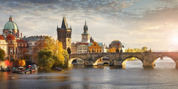 Panoramic view of the Vltava river and Charles Bridge in Prague, Czech Republic