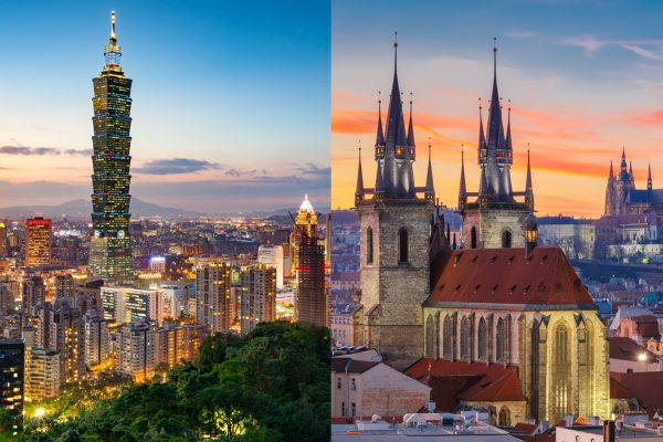 Skylines of Taipei, Taiwan and Prague, Czech Republic