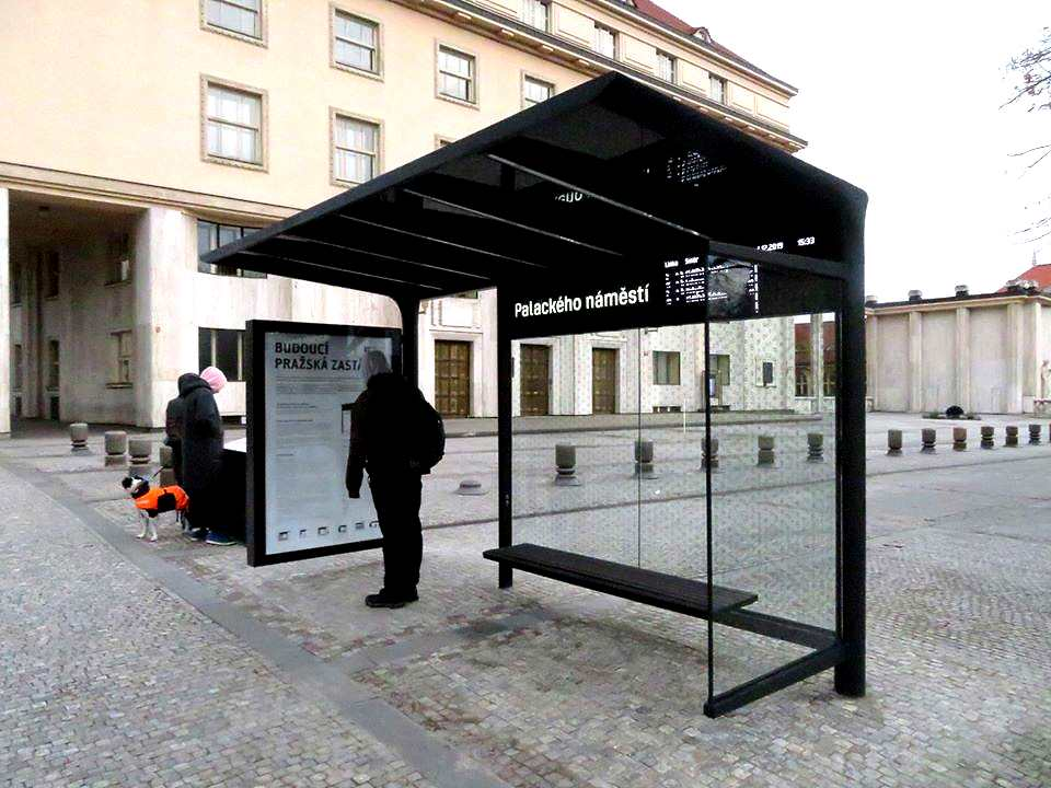 Prototype public transit shelter will unify Prague's public spaces