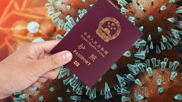 Chinese passport against coronavirus illustration