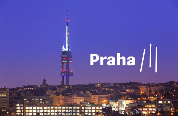 Prague 3's new logo next to the Žižkov Television Tower