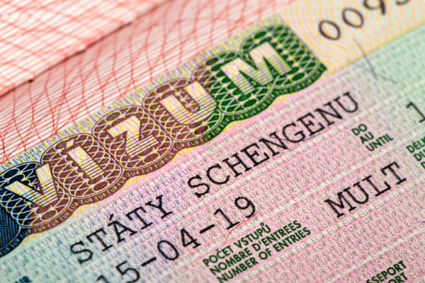 Close-up of a Czech Schengen visa for travel throughout Europe