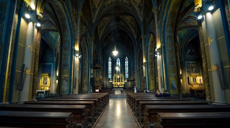 Interior view of Basilica of St. Peter and St. Paul at Vyšehrad Castle In Prague