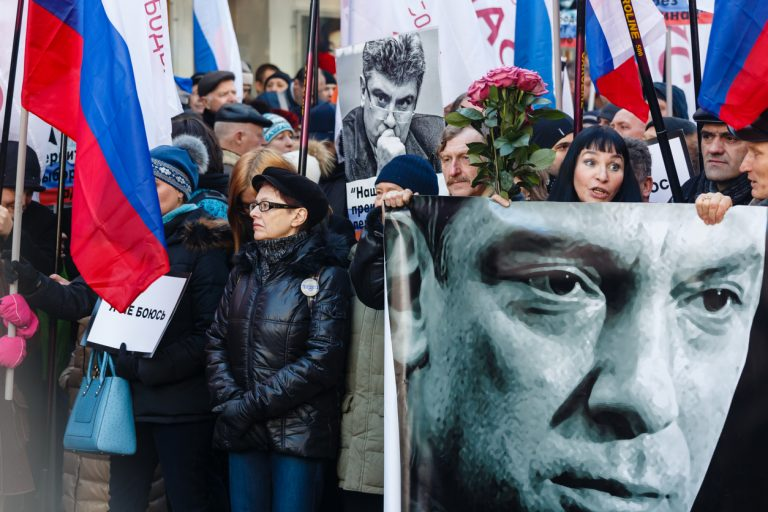 Moscow, Russia - February 27, 2016: Procession in memory of the murdered politician Boris Nemtsov