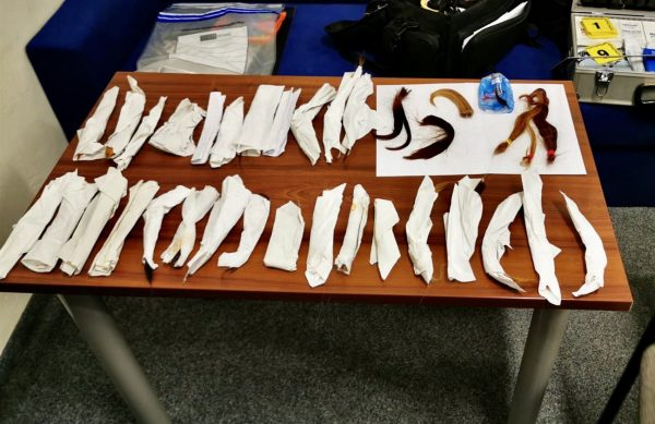 Locks of hair collected by the suspected hair cutter. via Municipal Police