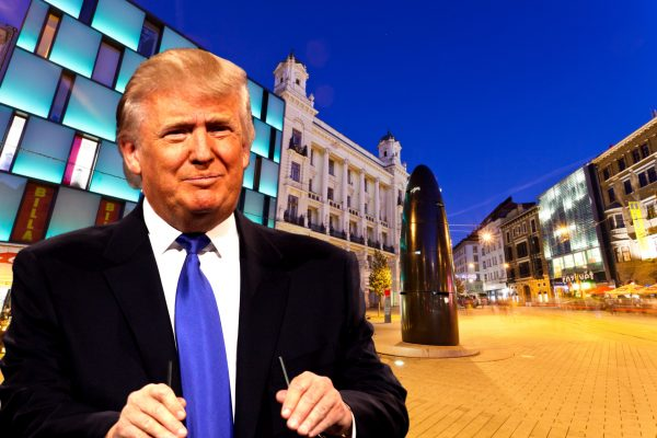 Donald Trump in 2013 via Wikimedia / Gage Skidmore; Brno's main square via iStock.com / holgs