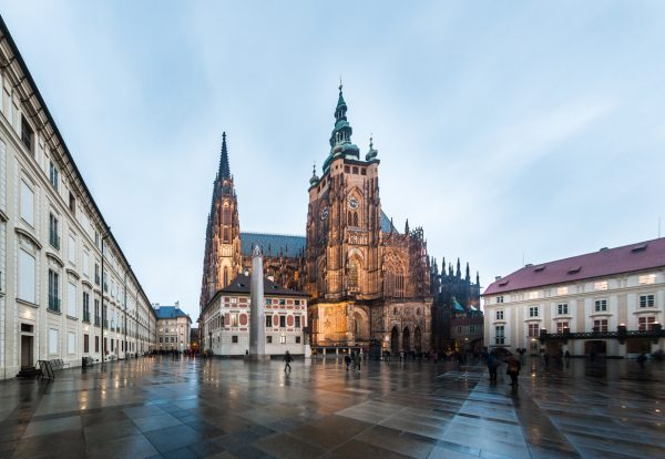 Prague Castle courtyard and St. Vitus Cathedral via iStock.com / Gfed