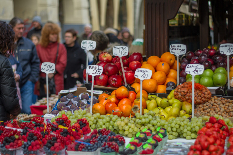 Prague farmers market in October, 2015 via iStock