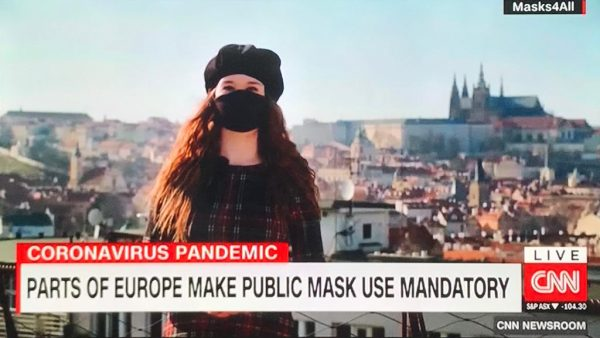 Screengrab of the Czech #Masks4All video on CNN via Twitter / Karel Havlíček