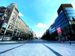 Prague's Wenceslas Square, nearly empty amid the coronavirus lockdown. Photo via Lucas Nemec