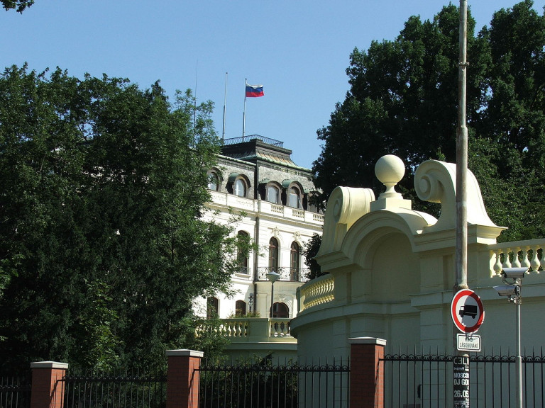 Russian Embassy in Prague via Wikimedia / I, Krokodyl