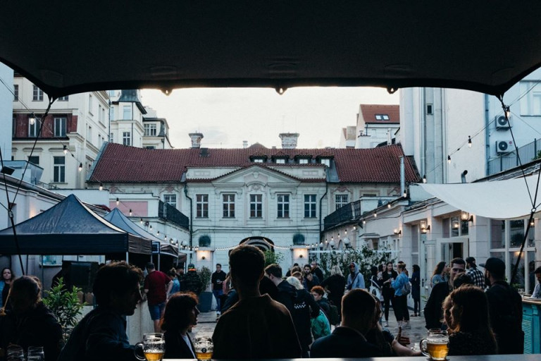 Pop-up beer garden and social space opening in Prague's Savarin Palace