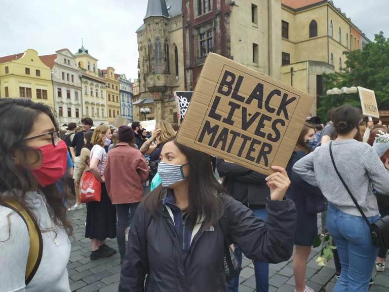 Black Live Matter protest at Prague's Old Town Square via Raymond Johnston