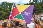 ague, Czech Republic - August 11, 2018: Close up on the Prague Gay Pride parade flag. Unrecognizable crowd of people.