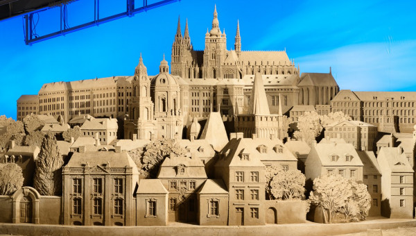 Prague Castle, and much of Malá Strana, recreated in sand via www.sand-museum.jp
