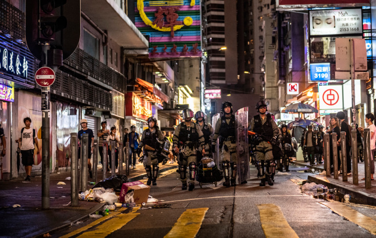 Riot police in Hong Kong's Causeway Bay, August 2019 via iStock / Joel Carillet