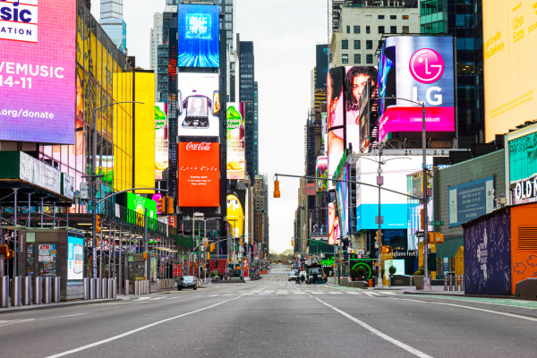 Times Square in New York City during the coronavirus crisis via iStock / nycshooter. Three Czech residents have reportedly returned from the USA with COVID-19 this month.