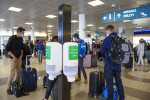 Disinfectant dispensers at Prague Airport in March 2020 via iStock / MadKruben